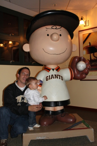 Lyla with Giants Charlie Brown